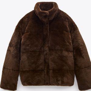 Zara faux fur bomber jacket w/ high collar / black